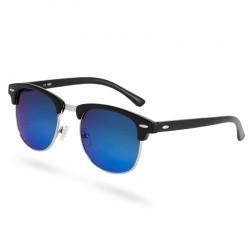 Paul Riley Sorte & Blå Browline Solbriller med Spejlglas