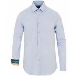 Paul Smith Cotton Stretch Cut Away Contrast Shirt Light Blue