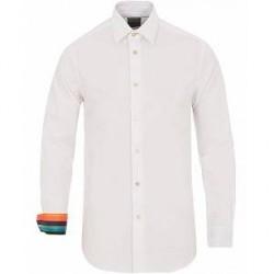 Paul Smith Cotton Stretch Cut Away Contrast Shirt White