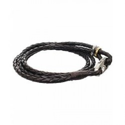 Paul Smith Leather Wrap Bracelet Dark Brown