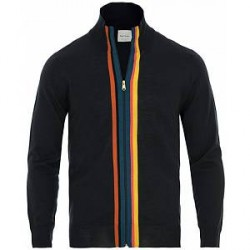 Paul Smith Merino Stripe Full Zip Navy