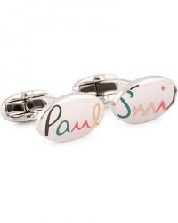 Paul Smith Multi Colour Logo Cufflinks Silver