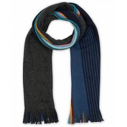 Paul Smith Multi Edge Double Face Wool Scarf Blue