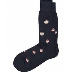 Paul Smith Multistripe Polka Dot Sock Navy