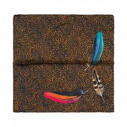 Paul Smith Silk Printed Feather Pocket Square Brown