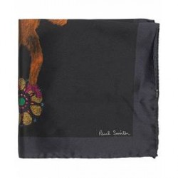 Paul Smith Silk Printed Monkey Pocket Square Black