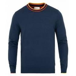 Paul Smith Striped Neck Merino Pullover Greyish Blue