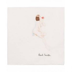 Paul Smith Vintage Lady Pocket Square White