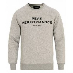 Peak Performance Logo Crew Neck Sweatshirt Grey Melange