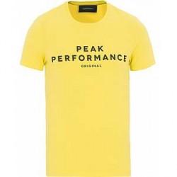 Peak Performance Logo Crew Neck Tee Dessert Yellow