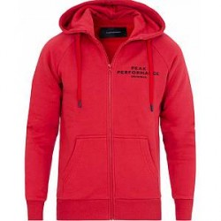 Peak Performance Logo Zip Hoodie Red