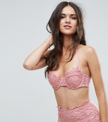 Peek & Beau Lace Push Up Bikini Top - Pink