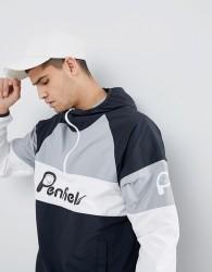 Penfield Block Overhead Hooded Jacket Front Logo in Black/White/Grey - Black