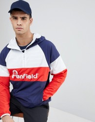 Penfield Block Overhead Hooded Jacket Front Logo in Navy/White/Red - Navy