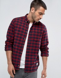 Penfield Corey Check Shirt Buttondown Flannel Regular Fit in Red - Red