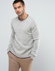 Penfield Gering Crew Jumper Lambswool Tipped in Grey - Grey