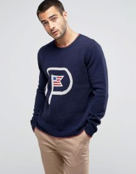 Penfield Gering Crew Jumper Lambswool Tipped in Navy - Navy