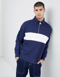 Penfield Hosmer Half Zip Funnel Neck Sweatshirt Cut & Sew Chest Logo in Navy - Navy