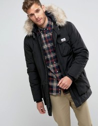 Penfield Lexington Insulated Parka Jacket Faux Fur Trim Hooded in Black - Black