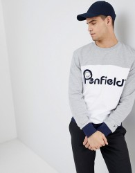 Penfield Orso Crew Neck Sweatshirt Front Logo Cut & Sew in Grey/White - Grey