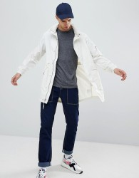 Penfield Pancho Long Nylon Concealed Hood Parka Jacket in White - White