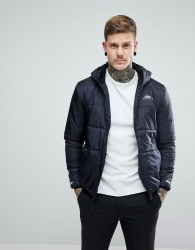 Penfield Schofield Hooded Jacket Lightweight Quilted in Black - Black