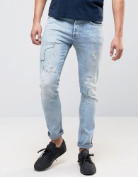 Pepe Archive Eddy Skinny Fit Jean Bleach Destroyed Wash - Blue
