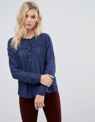 Pepe Jeans Bete Embroidered Yolk Blouse - Blue