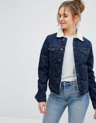 Pepe Jeans Borg Collar Denim Jacket - Blue