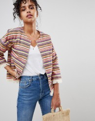 Pepe Jeans Clemence Stripe Poncho Jacket - Red