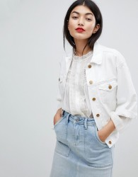 Pepe Jeans Crop Sleeve Denim Jacket - White