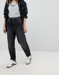 Pepe Jeans Daisie High WaistTapered Mom Jean with Pleat - Black