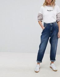 Pepe Jeans Daisie High WaistTapered Mom Jean with Pleat - Blue