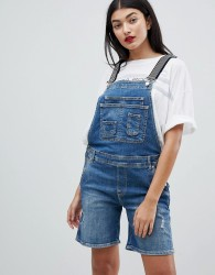 Pepe Jeans Dungaree Shortall with Stripe Straps - Blue