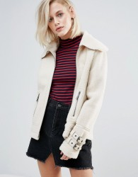 Pepe Jeans Ginna Exposed Faux Shearling Biker Jacket - Cream