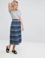 Pepe Jeans Gold Label Mirage Pleated Stripe Midi Skirt - Blue