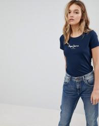 Pepe Jeans Heritage Logo T-Shirt - Navy