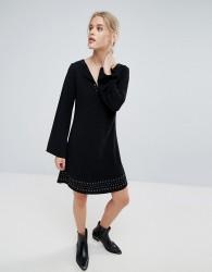 Pepe Jeans Janet Flared Long Sleeve Dress - Black