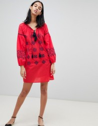 Pepe Jeans Kate Embroidered Tunic Dress - Red