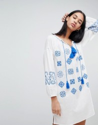 Pepe Jeans Kate Embroidered Tunic Dress - White