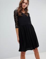 Pepe Jeans Lace A-Line Midi Dress - Black