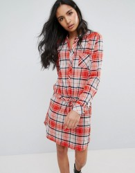 Pepe Jeans Madison Checked Shirt Dress - Red
