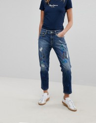 Pepe Jeans Mid Rise Straight Leg Jean with paint splatter - Blue