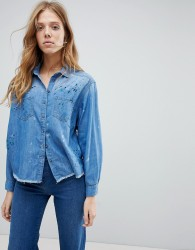 Pepe Jeans Painted Denim Shirt - Blue