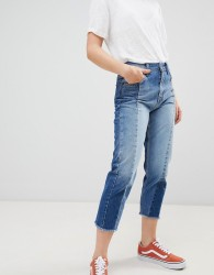 Pepe Jeans Patchy Panelled Cropped Boyfriend Jeans - Blue