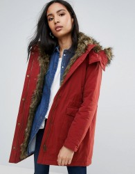 Pepe Jeans Polly Faux Fur Lined Parka Coat - Red