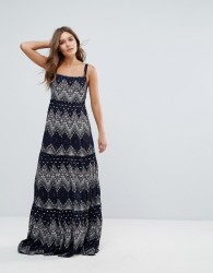 Pepe Jeans Printed Maxi Dress - Navy