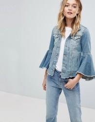 Pepe Jeans Ruffle Sleeve Denim Jacket - Blue
