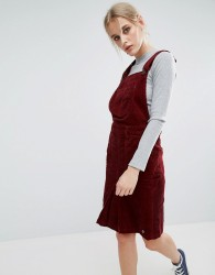 Pepe Jeans Shirley Corduroy Dungaree Dress - Red