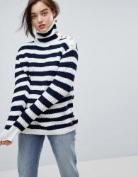 Pepe Jeans Stripe Funnel Neck Wool Blend Jumper - Cream